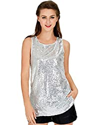 White Sleeveless Camisole Vest Sequin Tank Tops