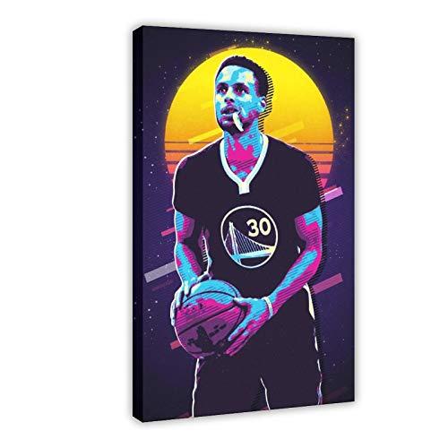 Stephen Curry Active Star Legend - Póster creativo de estrella de baloncesto para dormitorio, decoración deportiva, paisaje, oficina, habitación, regalo, 30 x 45 cm, marco1