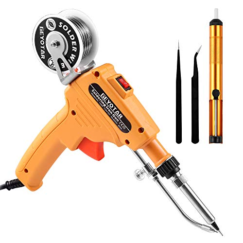 GEYOTAR 110V 60W Automatic Soldering Iron Gun Kit Welding Tool With Lead-free Wire,Desoldering Pump,Tweezers for Circuit Board, Home DIY, Electronic Repair