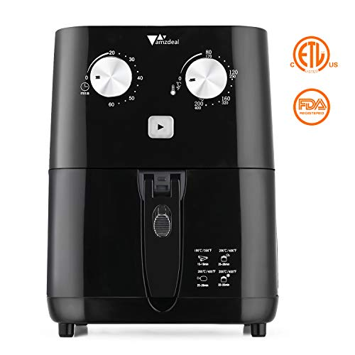 Air Fryer - Amzdeal Mini Air Fryer 1.5L/1.6qt 600W, Electric Compact Airfryer with Timer and Temperature Control, Detachable Non Stick Fry Basket, BPA Free, No Oil, Black