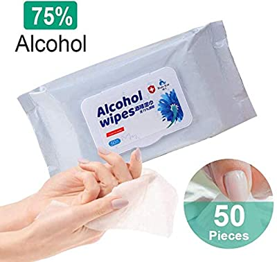 Oklife Alcohol Wipes, 50 Pcs Cleaning Wipes, Multipurpose Portable Swabs Pads Wipes Moist Wipes Cleanser for Deep Cleaning Hands, Tables, Chairs, Toys, Doorknobs and Toilet Mats Seat from Oklife