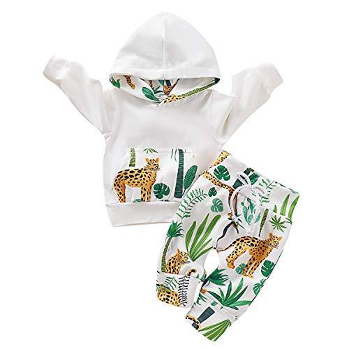 greatmtx - Set da 2 pezzi per neonati, con stampa di ghepardo e foresta, per bambini da 0 a 18 mesi, pantaloncini + felpa con cappuccio bianco 70 cm(0-3 mesi)