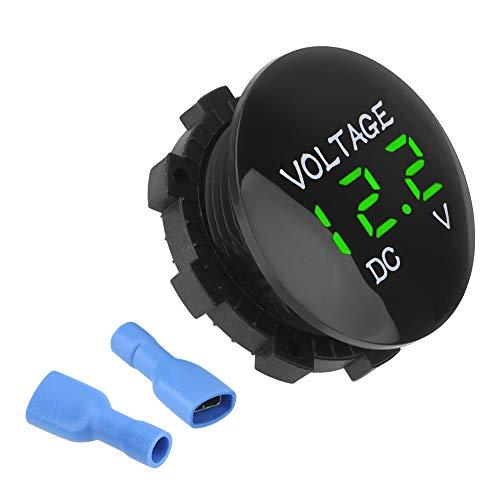 YOUG Mini Digital Voltmeter, Spannungsprüfer, Wasserdicht, für Auto und Motorrad, DC 12V-24V, ABS (Grün)