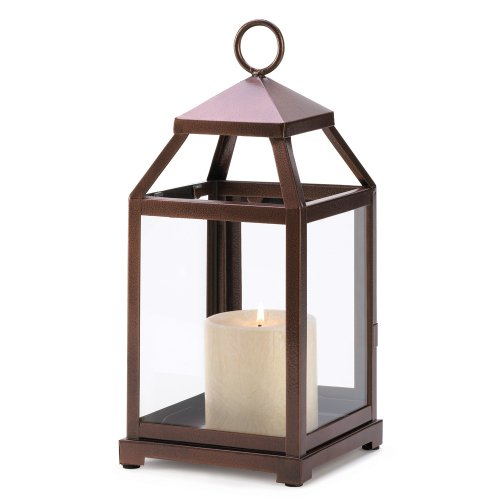 Gifts & Decor Burnished Copper Contemporary Hanging Lantern Candle Holder Stand
