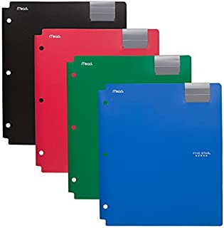 Five Star 4 Pocket Folders, Plastic Folders with Pockets, Assorted Colors, 4 Pack (73276)
