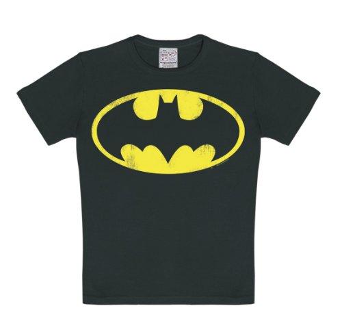 Logoshirt T-Shirt pour Enfant Batman Logo - T-Shirt à col Rond de Noir - Design Original sous Licence, Taille 104/116, 4-6 Ans