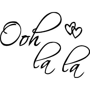 "Picniva Black 27"" X 20"" OOH LA LA Paris France Hearts Love Quote Vinyl Wall Decal Decor Art Sticker"
