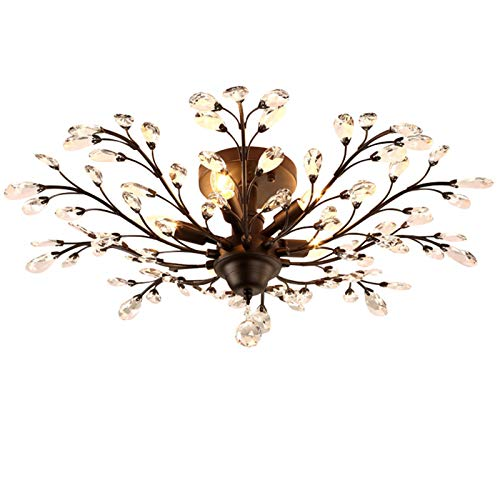 SEOL-LIGHT Vintage Large Crystal Branches Chandeliers Black Ceiling Light Flush Mounted Fixture with 5 Light 200W 31.5