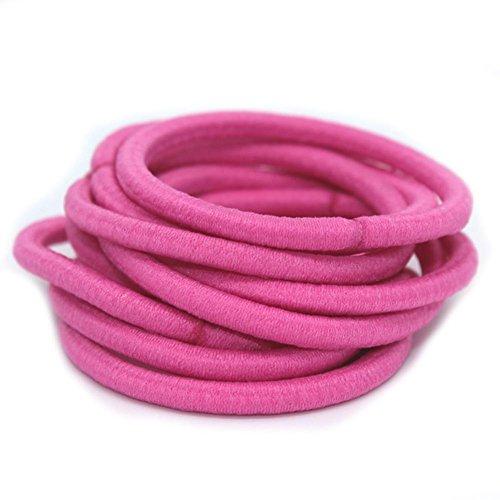 La Tartelette 4 mm Elastic Bands Hair Ties Children Rubber hair headbands - 100 Pcs (Hot Pink)