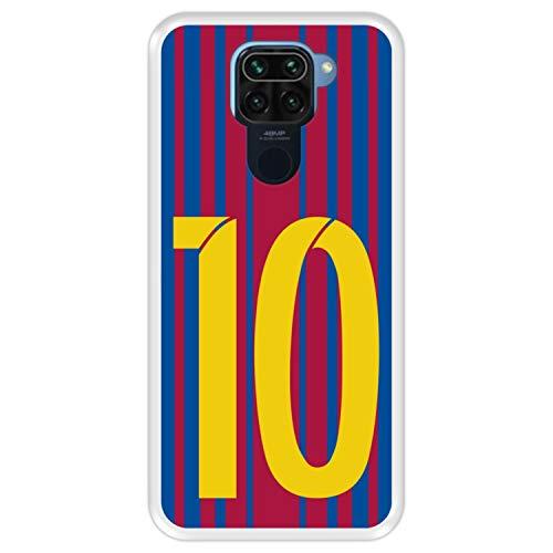 Hapdey Funda Transparente para [ Xiaomi Redmi Note 9 ] diseño [ Ilustración fútbol, número 10 ] Carcasa Silicona Flexible TPU