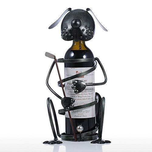Estante de vino para cachorros con hierro de golf, figura de animal, soporte para vino, práctico adorno para decoración del hogar