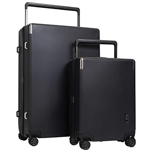 M&A Lakeside Wide Trolley Spinner Luggage with TSA-Lock, Black, 2 Piece Set