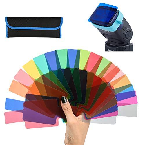 WOWOSS Filtro Iluminación Gel Transparent para Cabezales de Flashes, Filtro de Corrección de Color para Estudio Fotográfico (20 Colores)