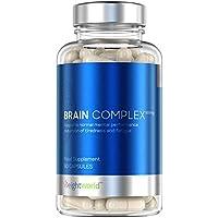 Brain Complex, Nootrópico   Suplemento para el cerebro, Complejo Multivitamínico Vegano para la Concentración y Memoria   Fórmula de Vitaminas y Minerales para Reducir el Cansancio y la Fatiga