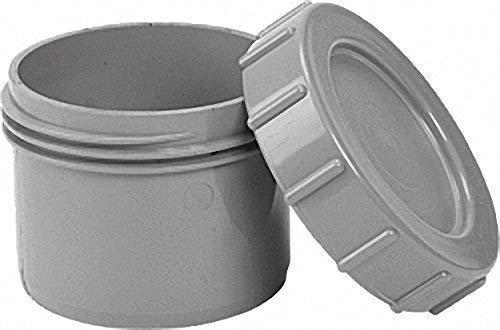 Endstopfen mit Schraubverschluss- kappe- grau PVC-U, zum Einstecken in eine Muffe - DN 75