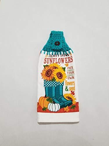 Crochet Top Kitchen Towel Fall Sunflower, Rain Boots, Pumpkins Aqua