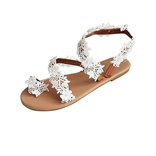 Olymmont Bohemian Pearl Flower Sandals for Women Casual Summer Beach Wedding Flat Shoes White Lace Ring Toe Flip Flops 2021 Dressy Comfy Elegant Slippers (White  10)