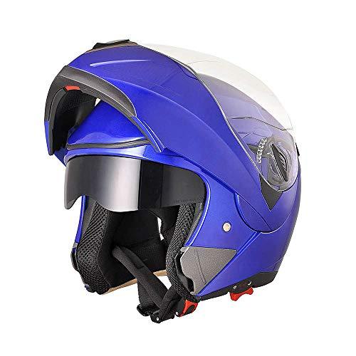 AHR Run-M Full Face Flip up Modular Motorcycle Helmet DOT Approved Dual Visor Motocross Blue M