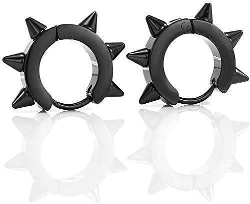 Ghlevo 1 par de Punk Rock geométrico Acero Inoxidable Spike Gothic Pendiente, Rivet Awl Spike Huggies Piercing Hoop Pendientes para Mujeres Hombres (Plata) (Color : Black)