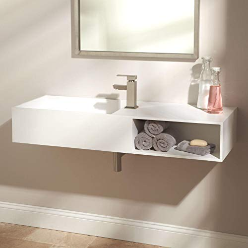 "Signature Hardware 357953 Ellie 44"" Resin Wall Mounted Bathroom Sink with Single Faucet Hole"