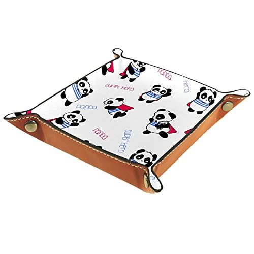 Bandeja de cuero dibujada a mano con patrón de panda, bandeja de noche, bandeja de almacenamiento, organizador de joyas para hombres, monedero de viaje