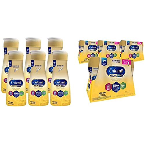 Enfamil NeuroPro Ready-to-Feed Baby Formula, Brain and Immune Support with DHA, Non-GMO, 32 Fl Oz Bottle (6 Bottles) and 8 Fl Oz (24 Bottles)