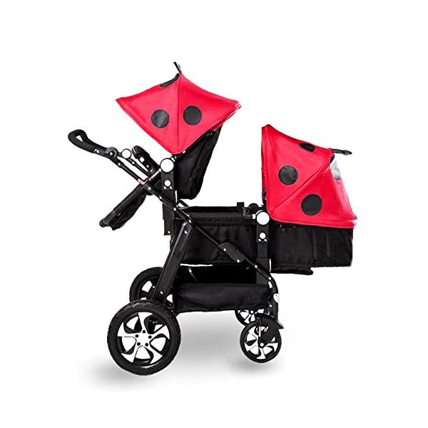 JXCC Double Strollers Baby Pram Tandem Buggy Newborn Pushchair Ultra Light Folding Child Shock Absorber Trolley Can Sit Half Lying 0-3 years old(Maximum loadable 50Kg baby) -Safe And Stylish A JXCC 1. {Four seasons can be} - The awning can be adjusted to multiple angles to easily cope with the sun, keep the baby warm in winter, and keep the windproof feet 2. {Multi-angle adjustable seat}: The seat can be adjusted between 0 and 175 degrees. The baby can sit and play, can lie flat, can lie down and drink milk, suitable for all occasions. Meet the needs of 0-3 year old baby. 3. {Multiple shock absorption design} - Rear wheel, two-wheel brake, wheel spring shockproof, baby is very safe 1