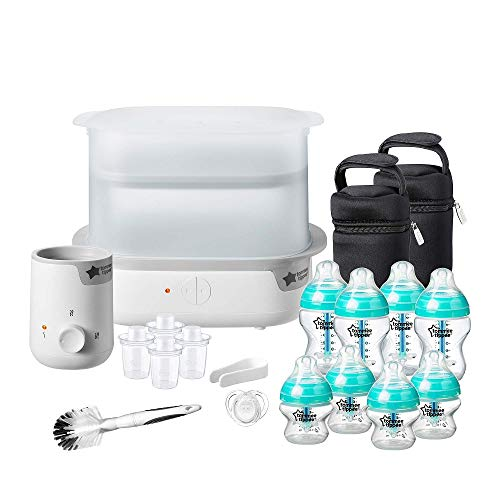 Tommee Tippee Anti-Colic Complete Feeding Set, Super-Steam Electric Steriliser, Baby Bottle and Food Warmer, Baby Bottles and Accessories