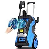 TEANDE 3800PSI Electric Pressure Washer, 3800PSI High Pressure Washer for Cars Pressure Washer 2.8 GPM Three Modes of Touch Screen Adjustable Pressure Blue (Blue)