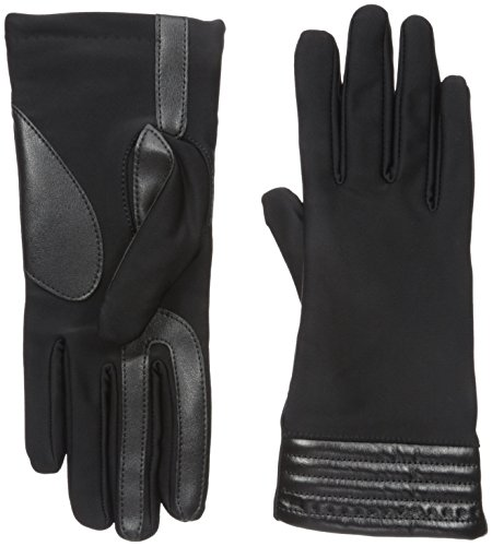 isotoner Women's Spandex Stretch Touchscreen Texting Cold Weather Gloves with Warm Fleece Lining and Metallic Details, Large / X-Large, Black