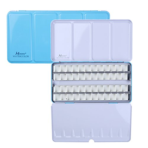 MEEDEN Empty Watercolor Tins Box Palette Paint Case, Large Blue Tin with 48 Pcs Half Pans