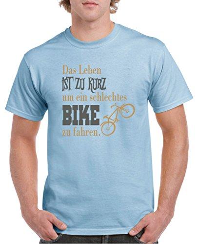 Comedy Shirts - Das Leben ist zu kurz um EIN schlechtes Bike zu Fahren - Herren T-Shirt - Royalblau/Hellbraun-Grau Gr. S