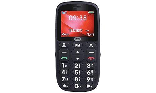 Trevi MAX 24 Telefono Cellulare per Anziani con Tasti Grandi, Grande Display, Base di Ricarica, Funzione SOS, Bluetooth, Radio FM, Nero