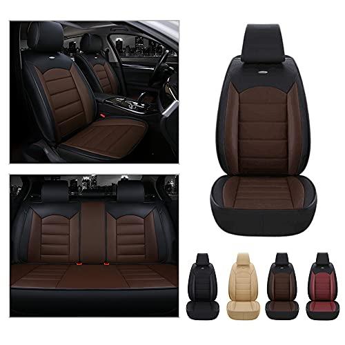 Maidao Fundas de asiento de 5 asientos para Audi A2 delantero trasero completo protector de cuero artificial impermeable compatible Airbag fundas de asiento negro café