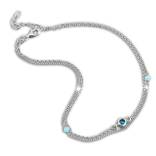 SilberDream Perlen Fußkette Damen türkis Zirkonia 25cm 925 Silber SDF5025T