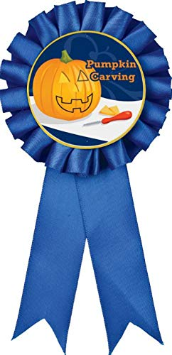 Lowest Price! Blue Rosette Halloween Ribbon, Pumpkin Carving Halloween Award Ribbon For Halloween Pr...
