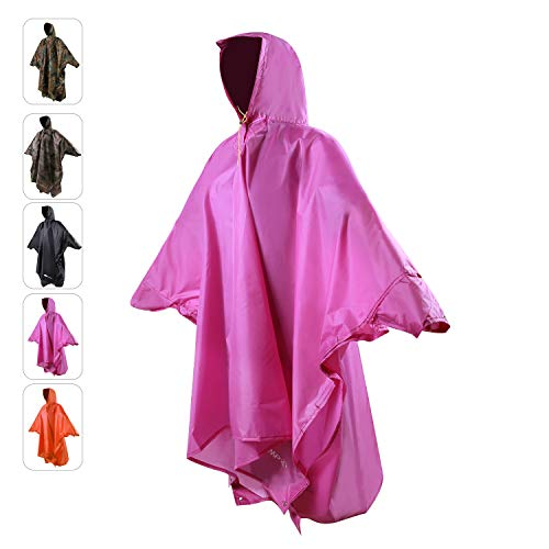 REDCAMP Rain Poncho for Adult, Plus Size Rain Coat with Hoods and Sleeves for Men Women Camping Hiking Cycling, Purple L