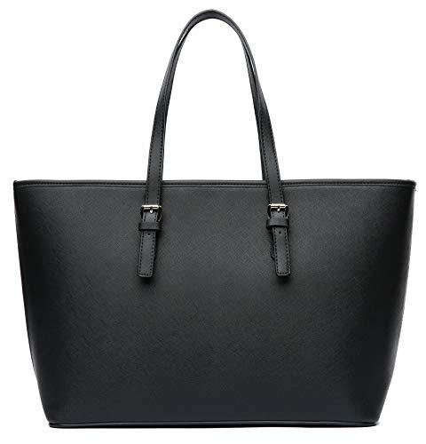 Vanessa & Melissa Damen Shopper Handtasche Schwarze Tasche für Schule Büro Einkauf