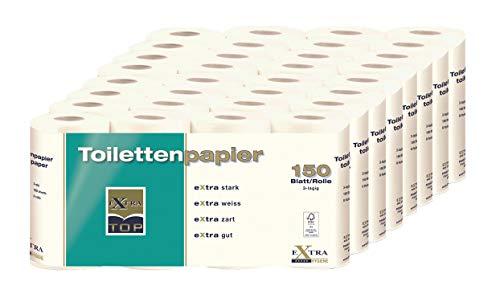 Grote verpakking extra top toiletpapier 3-laags, 64 rollen met elk 150 vellen, eXtra sterk, eXtra wit, eXtra delicaat, eXtra goed, wc-papier
