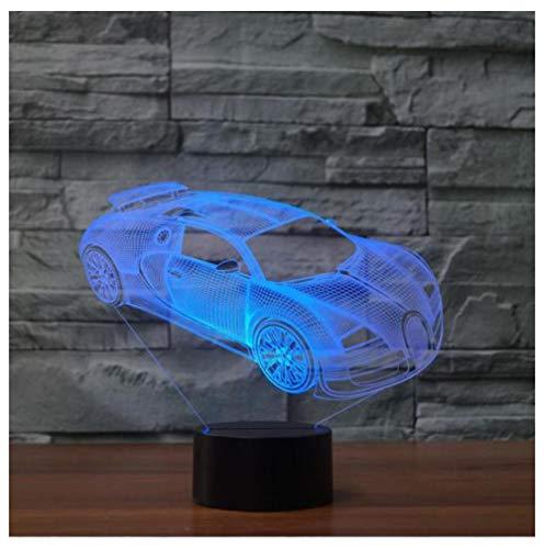 Juguete coche 3D noche luz Led lámpara de ilusión óptica, 16 colores Control remoto escritorio lámparas de mesa, para niños regalo Nightlight dormitorio decoración luces