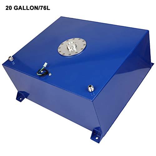 SCITOO 20 Gallon/76 Liter Blue Coat Aluminum Racing/Drift Fuel Cell Tank+Cap+Level Sender Universal Polished Aluminum Fuel Cell Cap Tank with Level Sender and Silver Cap