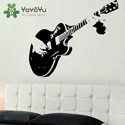 Grote gitaar kunst aan de muur sticker muur sticker stalen sticker vinyl snijden overdracht woonkamer huisdecoratie muur sticker 57x122cm