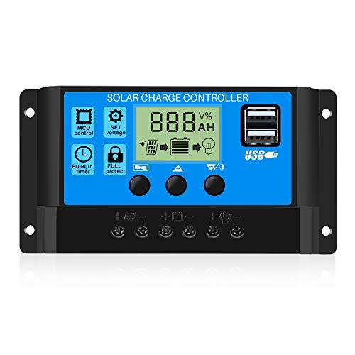 Thlevel 30A Controlador de Carga Solar 12V/24V Panel Solar Inteligente Controlador de Carga con Pantalla LCD y Doble Puerto USB para Panel Solar Lámpara Batería y Iluminación LED (30A)
