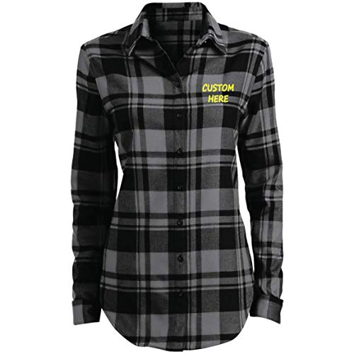 Custom Plaid Flannel Tunic Women's Long-Sleeve Button-Front Shirt Embroidery Design Grey/Black