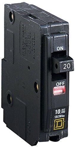 Square D Schneider Electric, QO120, Circuit Breaker 1P 20A, Black
