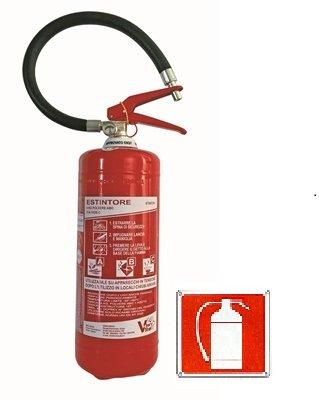 """Estintore Polvere Pressurizzato 6 Kg Con Supporto , UNI EN 3-7, A B C,Cartello metallico in alluminio simbolo """"estintore"""" dim. 12 x 18 cm"""