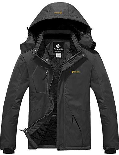 GEMYSE wasserdichte Skijacke für Herren Winddichte Fleece Outdoor-Winterjacke mit Kapuze (Eisen grau,L)
