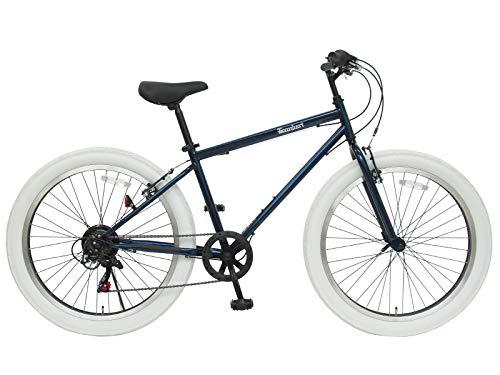 チャリンクス 26インチ バンバリ ファットバイク 6段変速 スポーツ自転車 マウンテンバイク風 QR (ネイビー)