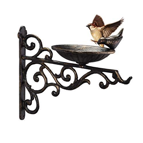 Relaxdays Vogeltränke Gusseisen, Wandmontage, wetterfest, Vintage Vogelbad Wildvögel, Gartendeko, HBT 24x28x14cm, bronze