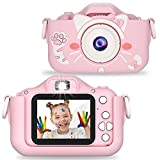 Faraone4w Dual Lens Kids Digital Camera for Boys and Girls, Pink